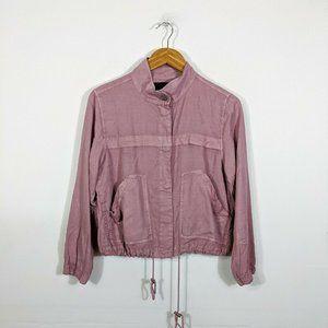 Sanctuary Rose Pink Drawcord Hem Snap Front Jacket
